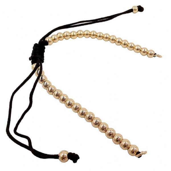Gold Colour Adjustable Beaded Bracelet Cord